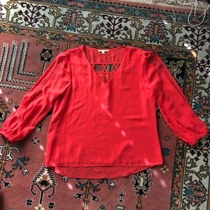 Gianni Bini Red Blouse w Cutouts - S